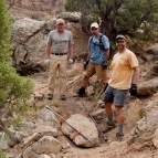 Trail builders are getting ready to move large rock
